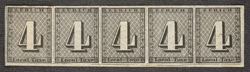 Switzerland: Zurich 1843 4 rappen, an unused horizontal strip of five.